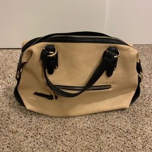 Aldo beige and black satchel purse